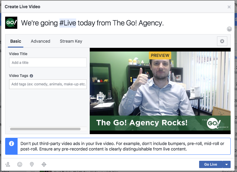 Creating a Facebook Live Stream With OBS - The Go! Agency